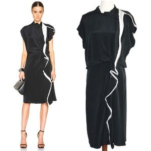 3.1 Phillip Lim Black White Silk Crepe Midi Dress